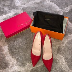 Kate Spade Red Suede Heels / Pumps. Worn once.